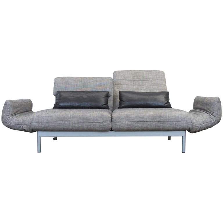 rolf benz plura designer sofa structured fabric grey beige function three seat at 1stdibs. Black Bedroom Furniture Sets. Home Design Ideas