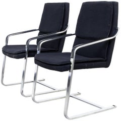 Walter Knoll Chrome Framed Chairs, Set of Two