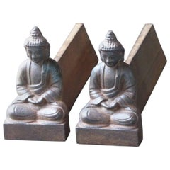 French Buddha Andirons or Firedogs