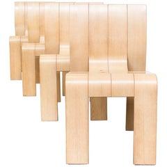 1970s Gijs Bakker Plywood Dining Room Set for Castelijn Set of Four