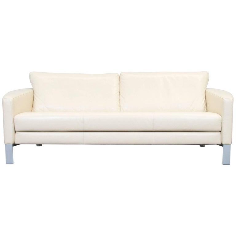 rolf benz designer leather sofa cr me beige three seat. Black Bedroom Furniture Sets. Home Design Ideas