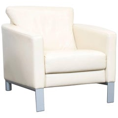 Rolf Benz Designer Leather Armchair Crème Beige One-Seat Modern
