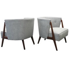 Pair of Mid-Century Angle Leg Barrel Back Lounge Chairs