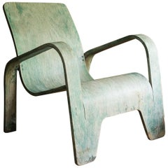 1940, Han Pieck, Plywood Lounge Armchair for Lawo in Green as Published on Book