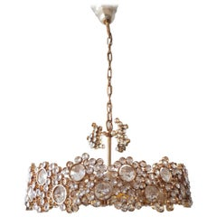 Brass and Crystal Chandelier by Palwa, 1970,