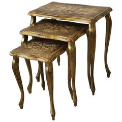 1950s Italian Florentine Gilded Nesting Tables, Set of Three