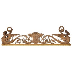 Silvered and Gilt Bronze Antique French Fireplace Fender in the Neo-Gothic Style