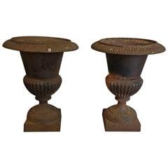 Pair of Antique Cast Iron Campana Urns