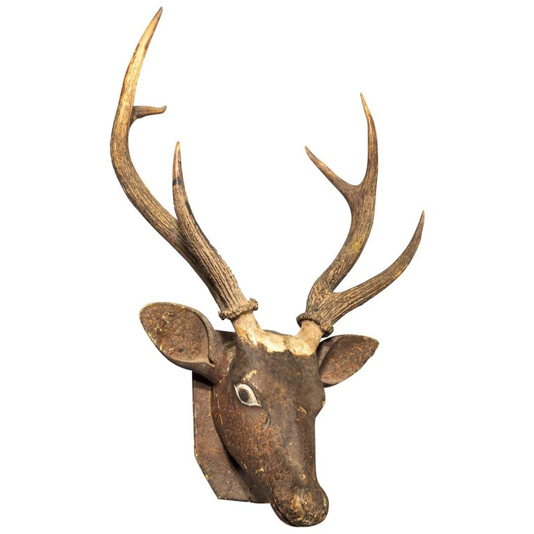 Carved Wood and Antler Stag's Head