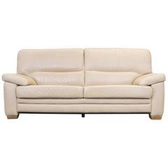 Designer Sofa Beige Leather Three-Seat Couch Modern