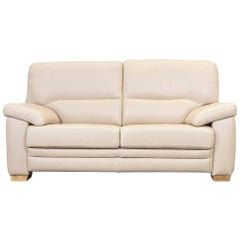 Designer Sofa Beige Leather Two-Seat Couch Modern