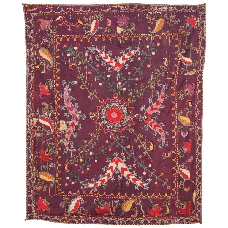 19th Century Central Asian Uzbek Shahrisabz Small Suzani For Sale