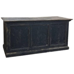 19th Century Rustic Painted Store Solid Pine Counter