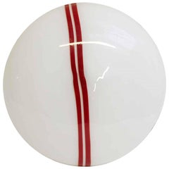 1960s Mid-Century Modern Murano Handblown Flush Mount Light with Red Pinstripes