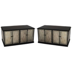 Pair of Mid-Century Style Black Lacquer Cabinets with Mirrored Doors