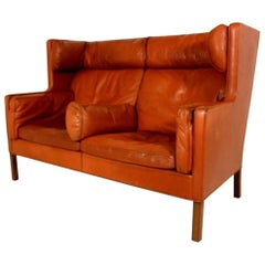 "High Back Leather Sofa ""Coupé"" by Børge Mogensen for Frederica Stolefabrik Model"