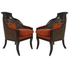 Pair of English Regency Style Fan Back Armchairs