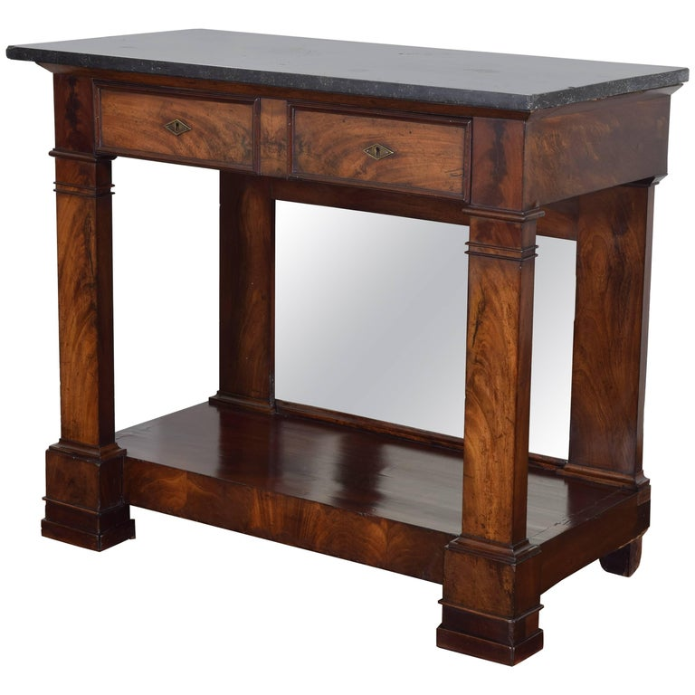 French Restauration Period Walnut and Marble-Top Console Table, 19th Century 1