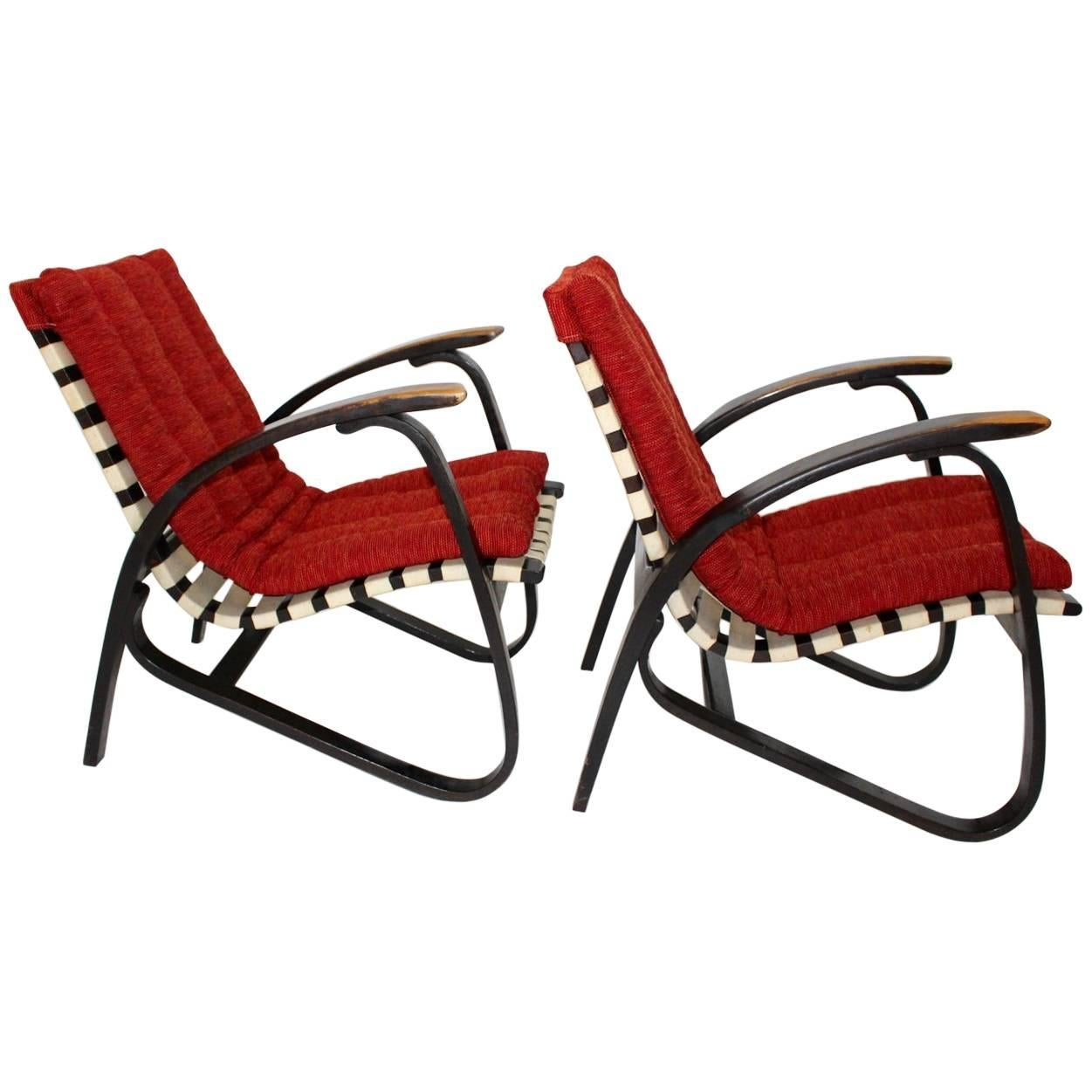 Red Pair Of Art Deco Bentwood Lounge Chairs By Jan Vanek, 1940s