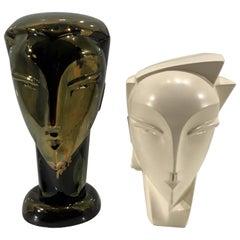 Two Studio Pottery Female Busts in the Style of Wiener Werkstätte