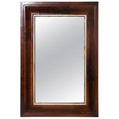 Mahogany Rectangular Wall Hung Mirror with Gold Leaf Inner Band