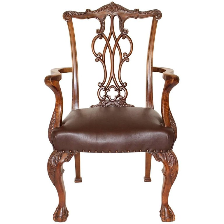 Walnut Chippendale Style Armchair, circa 1920