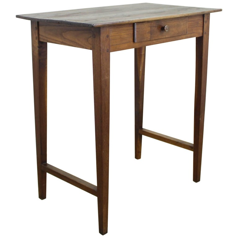 Tall antique chestnut side table with stretchers for sale for Tall side table