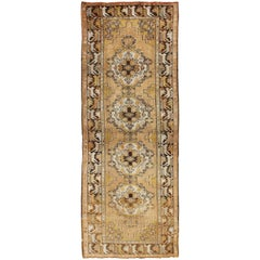 Vintage Turkish Oushak Runner with Medallions in Taupe, Yellow and Brown