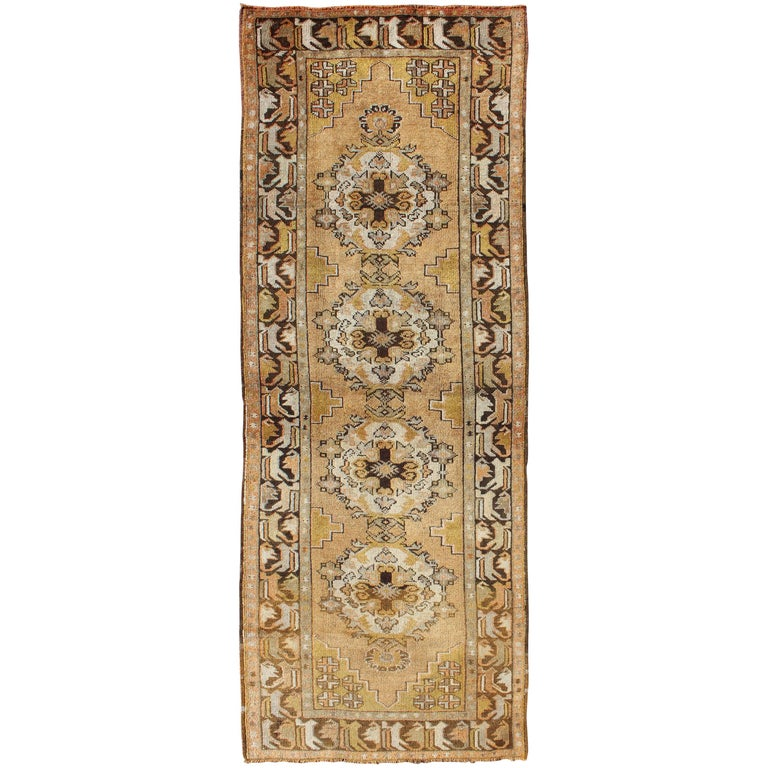 Vintage Turkish Oushak Runner with Medallions in Taupe, Yellow and Brown For Sale