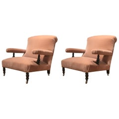 Pair of French 19th Century Armchairs with Mohair Upholstery