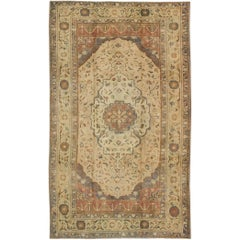 Turkish Oushak Rug Vintage with Layered Medallion in Ivory, Red, Blue and Olive