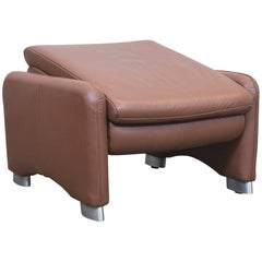 Hülsta Designer Footstool Pouff Brown Leather Function Couch Modern