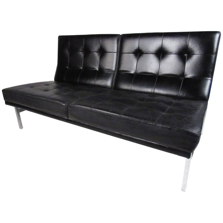 Early Knoll Tufted Leather Armless Sofa For Sale At 1stdibs