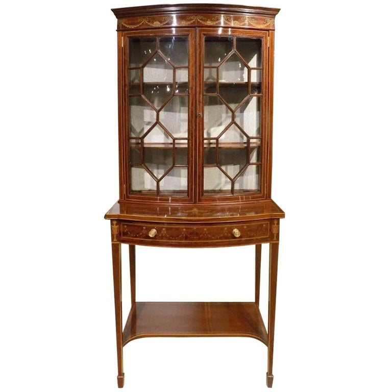 Superb Quality Mahogany and Marquetry Inlaid Bow Front Cabinet on Stand