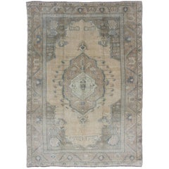 Vintage Turkish Oushak Rug with Tribal Medallion in Ivory, Camel, and Gray