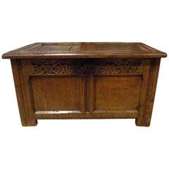 Rare Small Oak 17th Century Two-Panel Coffer