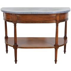 French Directoire Cherrywood, Marble-Top Console Table, Early 19th Century