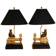 Pair of 19th Century French Bronze Table Lamps