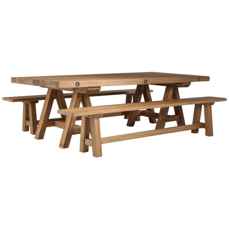 Bespoke French Oak Trestle Table For Sale