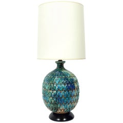 Large-Scale Italian Pottery Lamp in Vibrant Blue Greens