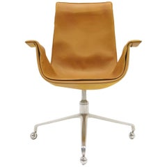 Fabricius and Kastholm Swivel Chair on Casters, Cognac Leather