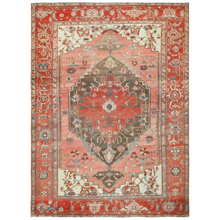 Persian Rugs For Sale: Room Size Antique Oriental Persian Serapi Rug For Sale At