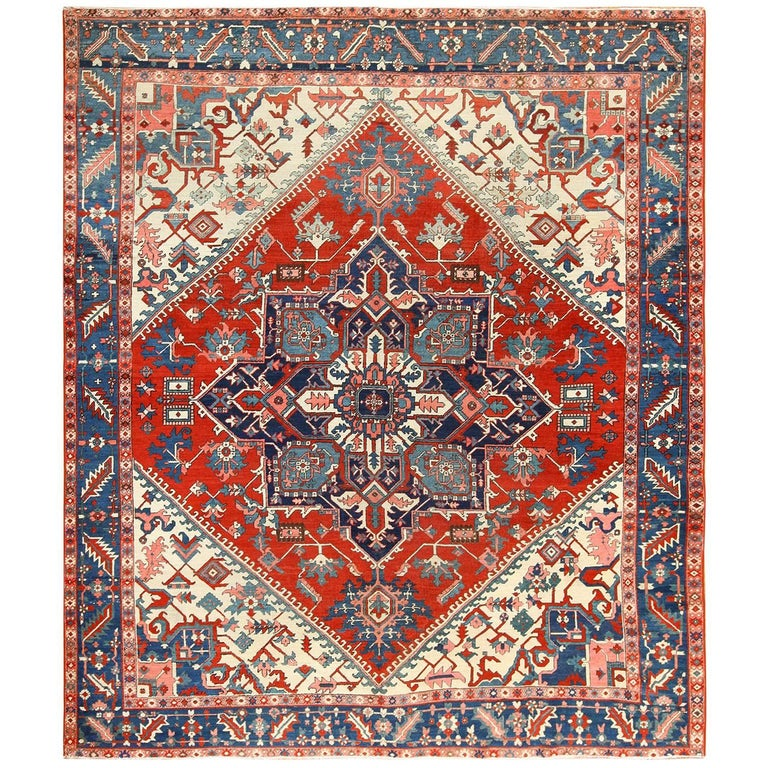 Oriental Room Size Persian Antique Serapi Heriz Rug