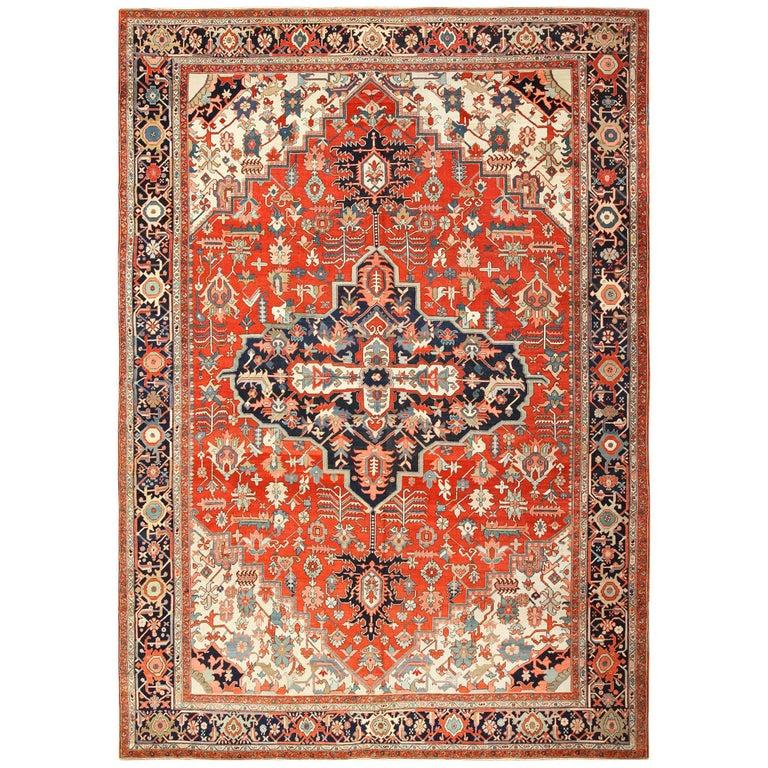 Large Oriental Antique Persian Heriz Serapi Rug For Sale