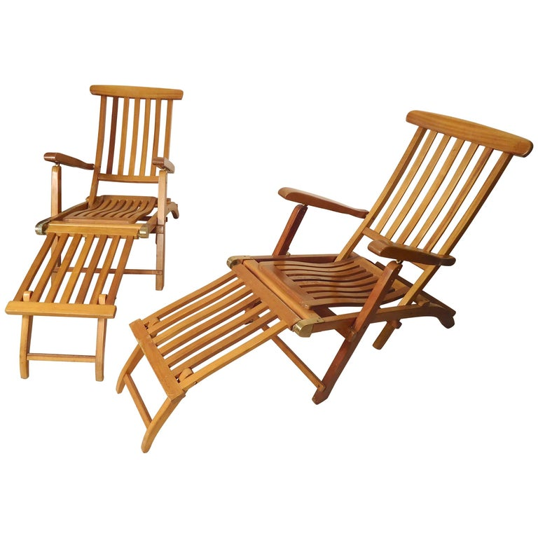 Folding Slat Deck Lounge Chairs For Sale