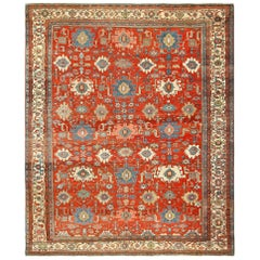Antique Red Background Room Size Persian Bakshaish Rug