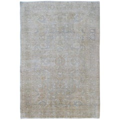 Gray Faded Vintage Turkish Sivas Rug with Floral Motifs and Medallion