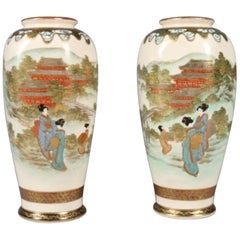 Pair of Antique Japanese Gilt and Hand-Painted Satsuma Cabinet Vases, circa 1900