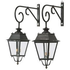 Pair of Vintage French Lanterns Restored with Wavy French Glass Panes