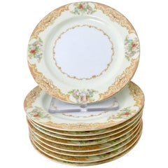 1030s Japanese Hand-Painted Dessert Plates Set of Ten
